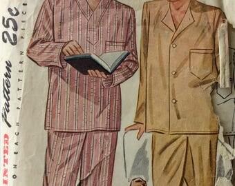 Simplicity 2207 vintage 1940's mens pajamas sewing pattern size medium  chest 38-40