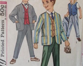 Simplicity 4836 boys suit jacket, vest and pants size 4 vintage 1960's sewing pattern
