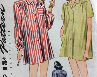 Simplicity 1300 misses short sleeper nightshirt size 12 bust 30 vintage 1940's sewing pattern  Factory folds