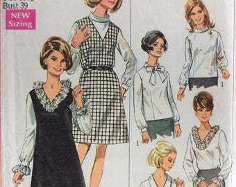 Simplicity 7767 misses half size A-line jumper and blouse size 16 1/2  bust 39 vintage 1960's sewing pattern  Uncut