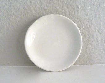 White China Tea Bag Plate, Spoon Rest or Trinket Dish