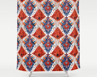 red and teal shower curtain. Red Ikat Shower Curtain Bathroom Decor and Blue  Print shower curtain Etsy