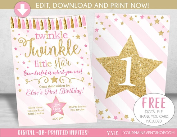 Twinkle Twinkle Little Star Invitation, Twinkle Twinkle Little Star Birthday Invite, Pink and Gold Glitter, 1st First Birthday, Templett DIY