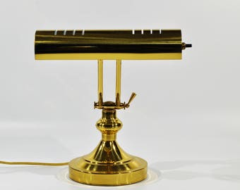 Polished Brass Piano /Desk Lamp Vintage Brass Adjustable Desk/Piano brass/gold / adjustable lamp /office lamp/ table lamp/ mad man desk lamp