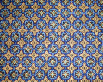 Fat Quarter, Brown and Blue Damask Pattern Fat Quarter, Quilting Fabric, Cotton Fabric