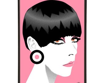 Peggy Moffitt illustration inspired by iconic 1960s fashion models, part of the 1960s models collection of pop art prints