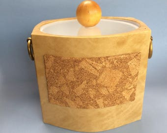 Vinyl and Cork Ice Bucket Vintage Mid Century