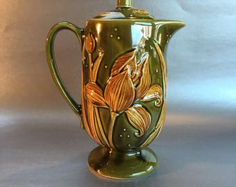 Vintage Mid Century Pottery Coffee Pot or Teapot majolica