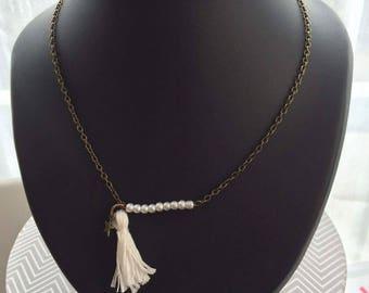 white color tassel necklace bronze