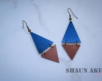 Blue and Copper Brown Faux Leather Handmade Earrings