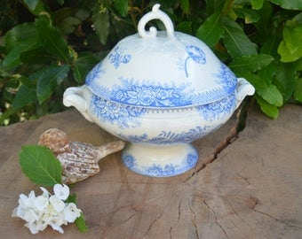 """Antique french ironstone blue  soup tureen St Amand """" jardinière"""" Shabby 1800's"""