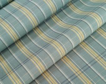 Vintage blue-green Striped tsumugi kimono silk - by the yard