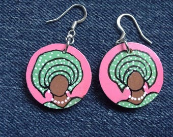 Headwrap Painted Wood Earrings --pink