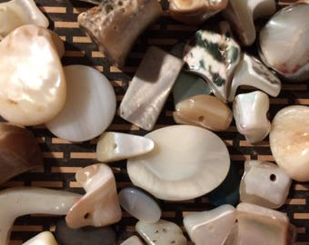 Destash Mother of Pearl Beads 40 Pieces