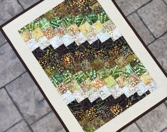 "Batik table runner Quilted batik bargello table runner table topper coffee table mat  21"" x 29""  wall hanging"