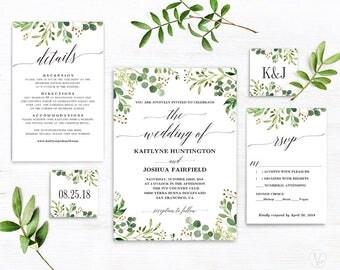 Rustic Greenery Wedding  Invitation, Printable Greenery Wedding Invitation Template, Editable Text, Instant Download, Meadow
