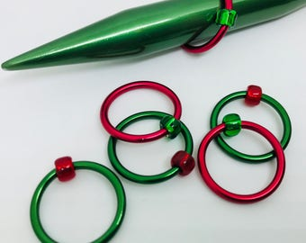 JUMBO Snag Free Stitch Markers - Holiday - Christmas - Red and Green - US 17 (12 mm)