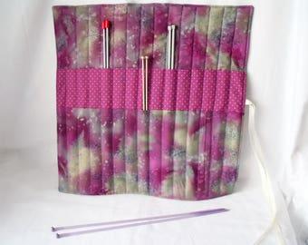 knitting organizer, knitting needle roll, knitting needle holder, needle storage,  purple mottled cotton fabric