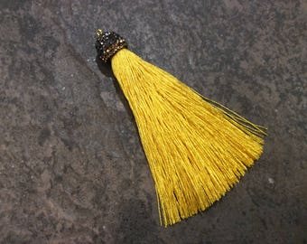 Mustard Yellow silk tassels with decorative beaded silver cap Beautiful tassels for Jewelry Making