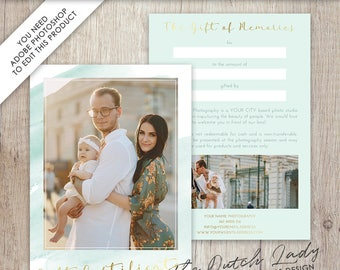 Photography Gift Certificate Template - Photo Gift Card - Watercolor Style - Design #34 - INSTANT DOWNLOAD - Layered .PSD Files