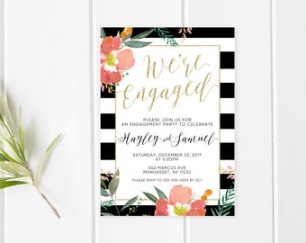 Engagement Party Invitation, Printable Engagement Party Invitation, Floral Engagement Invite, Striped Invite,  Printable Invitation, Custom