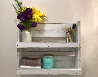 rustic white distressed wood bathroom shelf bathroom shelves farmhouse bathroom decor