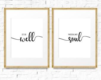 It is well with my soul sign, Printable wall art set, Wedding gift, Wedding print set, Bible verse, Bedroom decor, Set of 2 printable