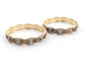 VALENTINE DAY SALE 2 Pcs 24 Ct Gold Plated Cubic Zirconia Bangle - Best Quality Cz Gold Plated Bangle Size:2.25 Cz040