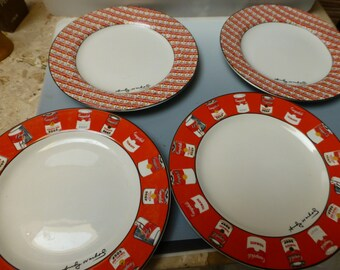 Andy Warhol Campbell Soup Block China dinner plates two of each