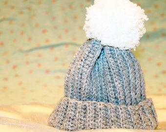 Hand Crochet Baby Beanie Hat With Pom Pom