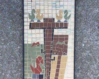 Linoleum Mosaic of Birds and a Telephone Pole