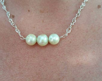 Large three Blister Pearls necklace handmade sterling chain,.