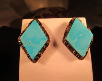 Trendy Southwestern Sterling Silver Turquoise Earrings