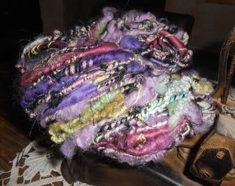 Handspun purple, violet: mohair, Merino, silk.