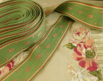 French vintage trim   Vintage passmenterie  7 yards of wide ribbon  Haberdashery  Stéphanoise  trim  Old new stock  Pink and green trim