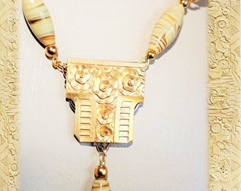 Art deco necklace - SWEETNESS of honey