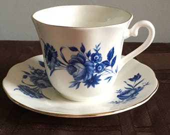 Footed Teacup and Saucer by Taylor & Kent, Elizabethan Fine Bone China
