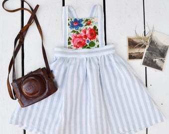 Blue and White Stripe Scarf Pinafore