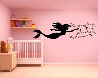 The Little Mermaid, Quote, Wall Sticker,  Kids room, Interior Sticker,  Window Sticker, Car Sticker, Wall Decal, Wall Decor,
