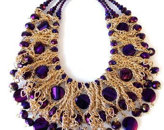 Purple Beaded and Gold Chain Statement Necklace