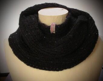 Crochet Scarf / Infinity Scarf / Black with Sequins / Wool Blend / Mohair Wool Blend / Handmade