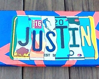 U.S. License Plate Name SIGNS!!! CUSTOM MADE!! Created With Real Genuine License Plates! Made By Hand!