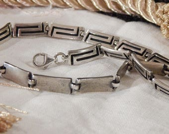 MODERNIST Closed Block-Link Sterling Silver Neck Chain C 1950s