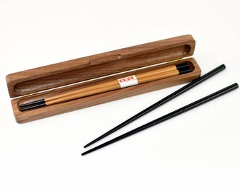Personalized Chopstick Box and Chopsticks - Personalized Chopstick Box - Chopstick Box - Engraved Wood Chopstick Box - Walnut Chopstick Case