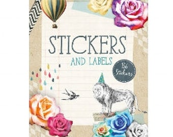 136 stickers and labels with pretty floral animal images, Journaling label and sticker book with a vintage style, Envelope and Gift decor