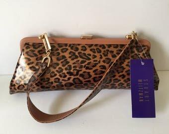 Stuart Weitzman Leopard Print Patent Leather Purse...Modern Cashew Lacquered Leopard Print Handbag...Designer Fashion Shoulder Bag...