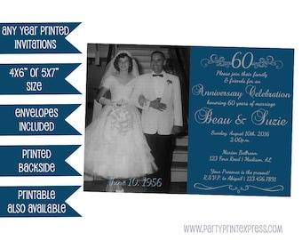 60th Wedding Anniversary Invitations - Photo 60th Anniversary Invitation - 60th Wedding Party - Vow Renewal - Diamond Anniversary Invite