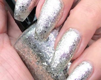 Walking on Glass silver flake nail polish