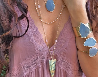 Labradorite Long Nrcklace // Labradorite Necklace // Labradorite Beaded Necklace