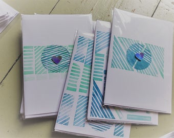 Hand printed card pack of 3